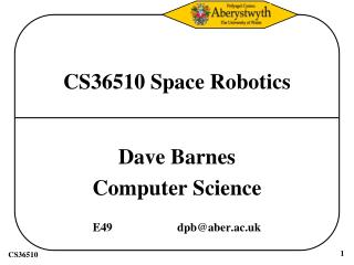 CS36510 Space Robotics