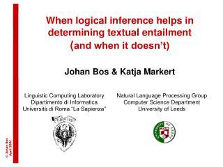 Linguistic Computing Laboratory Dipartimento di Informatica Universit �  di Roma �La Sapienza�