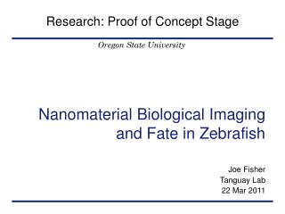 Nanomaterial Biological Imaging and Fate in Zebrafish