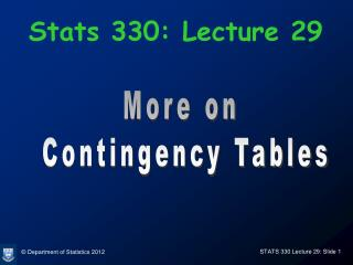 Stats 330: Lecture 29