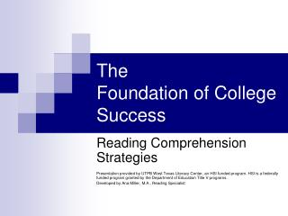 The  Foundation of College Success