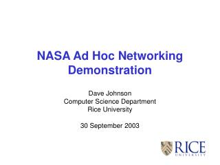 NASA Ad Hoc Networking Demonstration