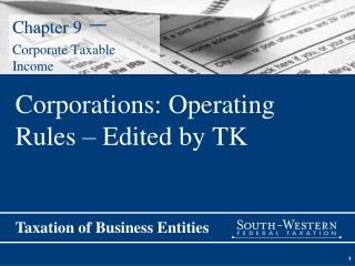 Chapter 9  –  Corporate Taxable Income