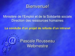 Bienvenue! Ministère de l'Emploi et de la Solidarité sociale Direction des ressources humaines