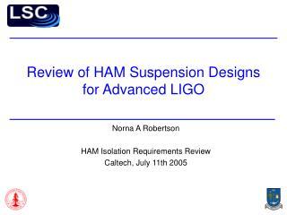 Review of HAM Suspension Designs for Advanced LIGO