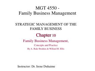 MGT 4550 -  Family Business Management