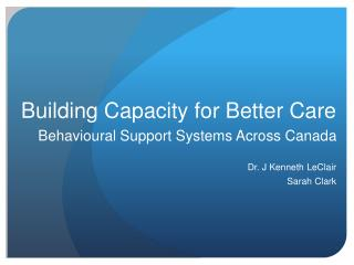 Building Capacity for Better Care