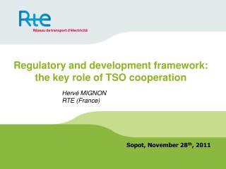 Regulatory and development framework: the key role of TSO cooperation