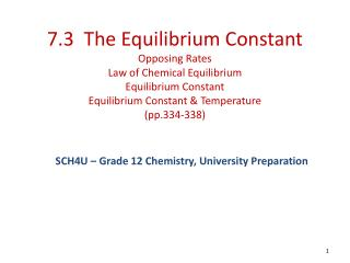 7.3  The Equilibrium Constant Opposing Rates Law of Chemical Equilibrium Equilibrium Constant Equilibrium Constant  Temp