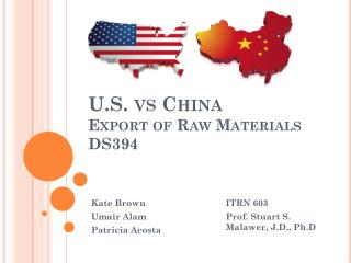 U.S. vs China  Export of Raw Materials DS394