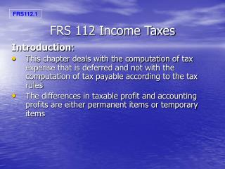 FRS 112 Income Taxes