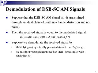 Demodulation of DSB-SC AM Signals