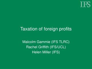 Taxation of foreign profits