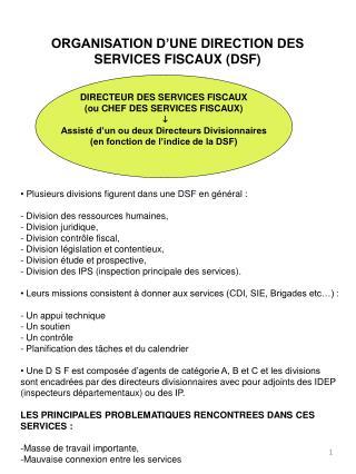 ORGANISATION D'UNE DIRECTION DES SERVICES FISCAUX (DSF)