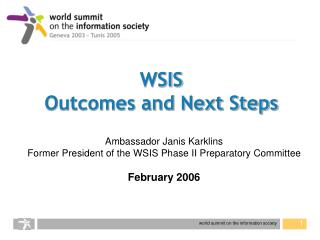 WSIS Outcomes and Next Steps