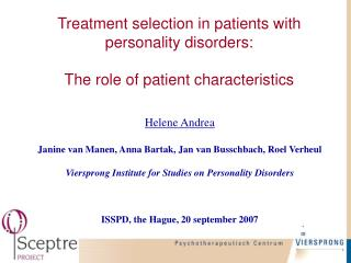 Treatment selection in patients with personality disorders: The role of patient characteristics