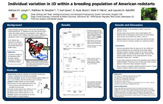 Individual variation in   D within a breeding population of American redstarts