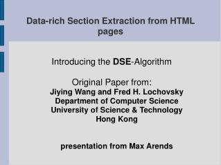 Data-rich Section Extraction from HTML pages