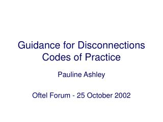 Guidance for Disconnections Codes of Practice