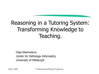 Reasoning in a Tutoring System: Transforming Knowledge to Teaching.