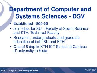 Department of Computer and Systems Sciences - DSV