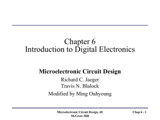 Chapter 6 Introduction to Digital Electronics