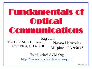 Fundamentals of Optical Communications