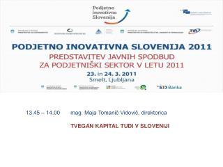 13.45 – 14.00mag. Maja Tomanič Vidovič, direktorica TVEGAN KAPITAL TUDI V SLOVENIJI