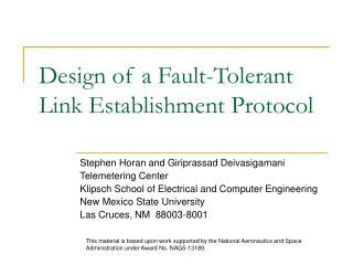 Design of a Fault-Tolerant Link Establishment Protocol