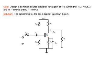 Solution:  The schematic for the CS amplifier is shown below.