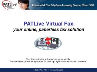 PATLive Virtual Fax  your online, paperless fax solution