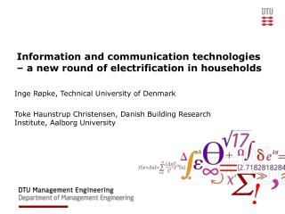 Information and communication technologies – a new round of electrification in households
