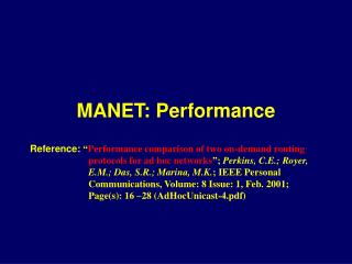 MANET: Performance