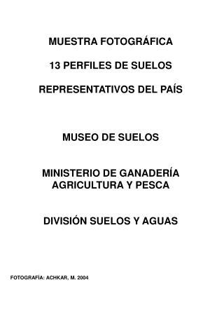 MUESTRA FOTOGRÁFICA  13 PERFILES DE SUELOS  REPRESENTATIVOS DEL PAÍS MUSEO DE SUELOS