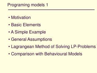 Programing models 1