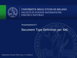 Document Type Definition per XML