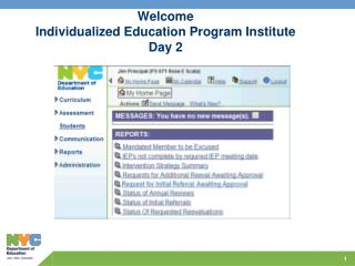 Welcome Individualized Education Program Institute Day 2