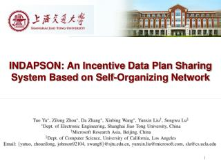 INDAPSON: An Incentive Data Plan Sharing System Based on Self-Organizing Network