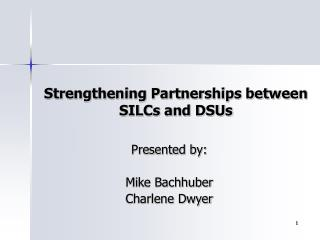 Strengthening Partnerships between SILCs and DSUs