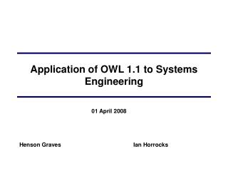 Application of OWL 1.1 to Systems Engineering