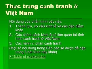 Thực trạng cạnh tranh ở Việt Nam