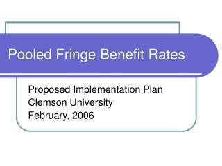 Pooled Fringe Benefit Rates
