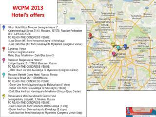 WCPM 2013  Hotel's  offers