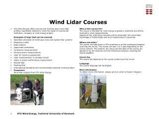 Wind Lidar Courses