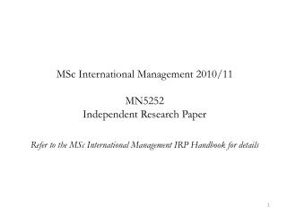 MSc International Management 2010/11 MN5252 Independent Research Paper