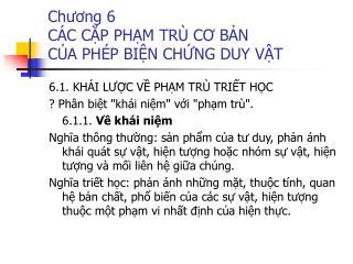 Chương 6 CÁC CẶP PHẠM TRÙ CƠ BẢN  CỦA PHÉP BIỆN CHỨNG DUY VẬT