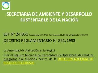 SECRETARIA DE AMBIENTE Y DESARROLLO SUSTENTABLE DE LA NACIÓN