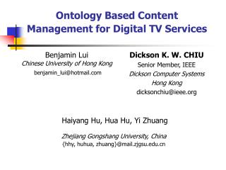 Ontology Based Content Management for Digital TV Services