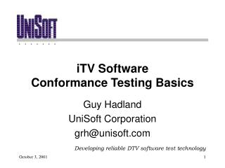 iTV Software Conformance Testing Basics