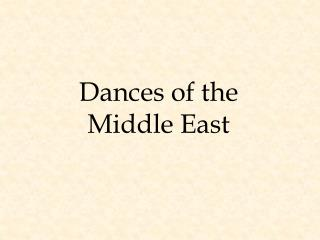 Dances of the Middle East